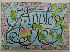 Apple Calligraphy Poem, V. Atkinson 1999.