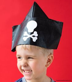 How to make your own newspaper hat. Easy DIY instructions for folding your own paper hat. Newspaper Hat, Newspaper Crafts, Book Crafts, Recycled Crafts Kids, Craft Kids, Crafts For Kids, Pirate Crafts, Fun Halloween Crafts, Pirate Hat Template