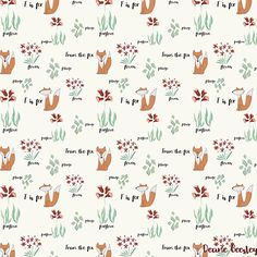 A fox pattern by pattern camper & surface pattern designer Deane Beesley.