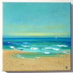 Playa del Caribe pintura acrílica marino 12 x por TheEscapeArtist