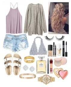 """Summer 2"" by ella-goodness on Polyvore featuring H&M, Birkenstock, Yves Saint Laurent, Rimini, NARS Cosmetics, Cartier, Marc Jacobs, Chanel, Christian Dior and MAC Cosmetics"