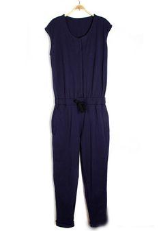 ++ Blue Drawstring Cotton Jumpsuit Pants