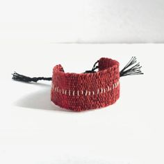 Red marl handwoven linen cotton bracelet / textile bracelet / cuff bracelet / loom woven bracelet / fiber jewelry / red black silver Red Black, Black Silver, Jewelry Polishing Cloth, White Embroidery, Handmade Jewellery, Wedding Ring Bands, Diamond Shapes, Bracelet Making, Sale Items