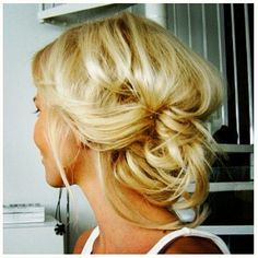 blonde pretty, loose updo