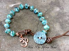Knotted Czech Glass Bracelet in Ocean Blues by kissthemoongems on Etsy