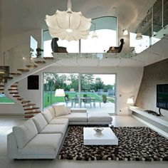 Tolles wohnen! white color mix black big living room big windows high ceiling house