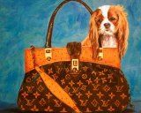 One 11x14 Inch Cavalier King Charles Spaniel in a Louis Vuitton Inspired Handbag Fine Art Print From an Original Painting By Philo - #purses #handbags   CAVALIER KING CHARLES SPANIEL DOG IN LOUIS VUITTON PAINTING GICLEEHeavyweight  Fine Art heavy wei