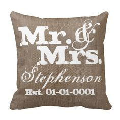 Personalized Rustic Burlap-Look #WeddingSouvenir Keepsake Throw Pillow