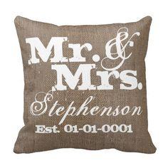 Personalized Rustic Burlap-Look #WeddingSouvenir Keepsake Throw Pillow