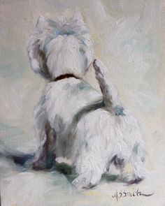 PRINT Westie West Highland Terrier Dog Puppy Art Oil Painting / Mary Sparrow Smith. $29.95, via Etsy.