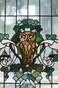 Stained glass by Duilio Cambellotti at Casina delle Civette ( House of Owls) , Rome Art Photography, Inspiration, Glass Birds, Art Nouveau, Sculpture, Art, Stained Glass Art, Glass Art, Bird Feathers