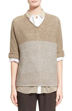 Fabiana Filippi 'Vanise' Paillette Embellished Linen Blend Sweater available at #Nordstrom