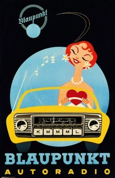 Blaupunkt advertisement. #music #musicart #advertisement http://www.pinterest.com/TheHitman14/musical-kitsch-%2B/-- una radio para el ferrari jajaj (peugeot207), imprescindible USB