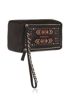 Givenchy Small Pandora wristlet bag in embellished black textured-leather | NET-A-PORTER
