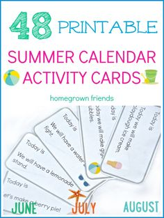 48 Free Printable Summer Calendar Activity Cards