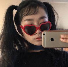 saga of the heart glasses Korean Girl, Asian Girl, Heart Glasses, Korean Street Fashion, Red Aesthetic, Gorillaz, Ulzzang Girl, Pretty People, Cat Eye Sunglasses