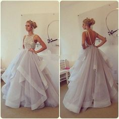 Glamorous Ball Gown Lace Puffy Organza Floor length Long Sexy Backless Prom Dresses 2015 New Arrival