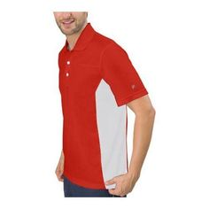 Men's Fila Core Color Blocked Polo Chinese Red/ (US Men's (Chest 34-36))