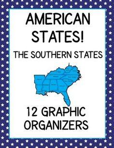 12 Graphic Organizers with answer keys - southern states: Alabama, Arkansas, Florida, Georgia, Kentucky, Louisiana, Mississippi, North Carolina, South Carolina, Tennessee, Virginia, West Virginia.