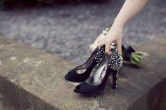 Walk down the aisle in black spiked heels #blackwedding on hellobrideblog.wordpress.com