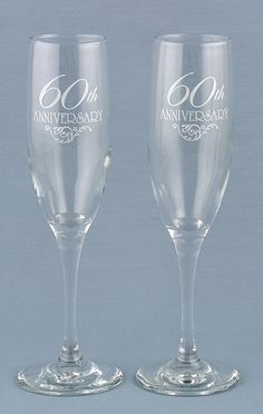 60th Anniversary Toasting Flutes from Wedding Favors Unlimited