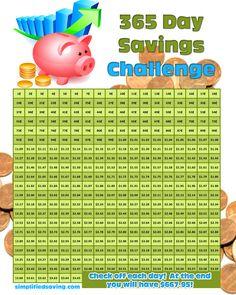 FREE Printable: 365 Day Saving Challenge from SimplifiedSaving.com #printable
