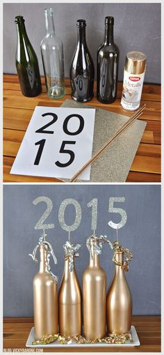 2015 Wine Bottle Centerpiece | New Year's Eve | Vicky Barone