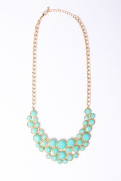 Faceted Mint Bib Necklace