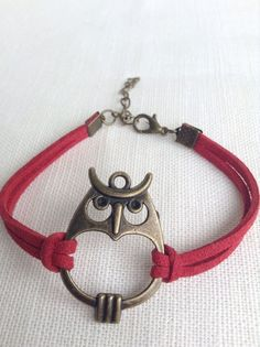 Bronze Owl Red Suede Effect Friendship Bracelet. 10% Goes To Charity.