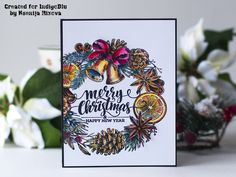 Hello Everyone! Today I am sharing my new DT project for IndigoBlu featuring new Christmas Wreath stamps set. For Englis. Christmas Wreaths, Christmas Cards, Merry Christmas, Cursed Child Book, Winter Holidays, Hello Everyone, I Am Happy, December, Seasons
