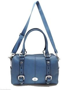 NEW! FOSSIL LEATHER HANDBAG BLUE MADDOX SATCHEL WITH SHOULDER STRAP NWT