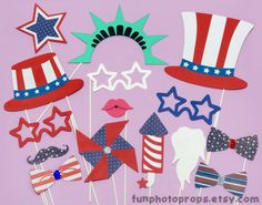 4th of July Photo Booth Props - 15 piece Patriotic Photobooth Prop set - Photo booth Props on Etsy, $27.95