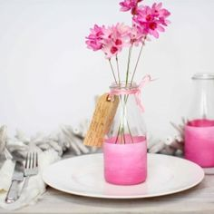 Tutorial on how to make these beautiful ombre painted vases using household paint and inexpensive glasses  bottles