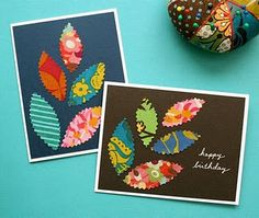 Homemade fabric cards: This would make a REALLY simple B'moms craft day. Fabric samples, Bazzill paper, metallic pens, maybe some stamps. Fabric Cards, Fabric Postcards, Paper Cards, Cute Cards, Diy Cards, Scrapbook Cards, Scrapbooking, Karten Diy, Homemade Cards