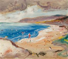 """""""Figures on a Beach,"""" Arthur Lismer, oil on board, 13 x 15 private collection. Tom Thomson, Group Of Seven, Art Auction, Online Art, Oil, Watercolor, Landscape, Beach, Artist"""