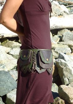 ABSOLUTE FAVORITE!!!Leather Hip Belt Bag with five pockets in Dark Brown and Green
