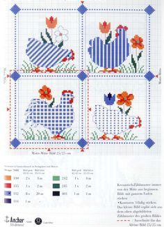 Schema punto croce Galline Azzurre