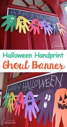 Hand Print Halloween Banner | Fun & Creative DIY Halloween Crafts for Kids