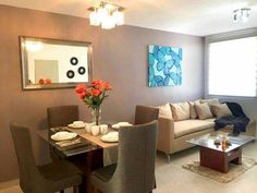 How to decorate Rooms and Dining Rooms Together - Decoration and Fashion Small Living Rooms, Home Living Room, Living Room Designs, Small Condo Decorating, Townhouse Interior, Living Room Decor Inspiration, Small Room Design, Home Decor Furniture, Home Interior Design