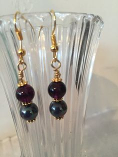 Handcrafted Tourmaline Gemstone & Black Sea Pearl earrings Made in the USA by MoonBeamsJewels on Etsy