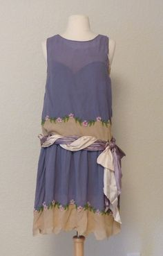 1920's True Vintage Blue Silk Flapper Dress With Floral Beading & Slip - As Is