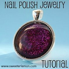 Nail Polish Jewelry Tutorial – Pendants I've seen this on YouTube still gotta find my bug jems in my craft basket. love it! must try! www.eCrafty.com for glass tiles, bezels, bails, jewelry supplies