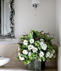 Artificial White & Green flower display from Floriture at Interiors London