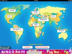TapQuiz Maps is a quizzing of maps.  Students have the choice of a continent and region to be quizzed on.