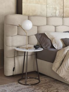 Double bed with upholstered headboard MAJAL | Bed with upholstered headboard by Flou