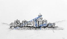 Islamia College, Peshawar.   Pen and ink on collage drawn with 0.1mm rapido.  By: Zehra Naqavi (Architect/artist)  Year: 1996