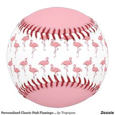 Personalized Classic Pink Flamingo Pattern Softball