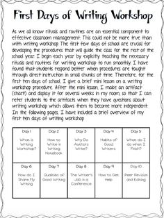 Workshop Guide - Freebie Outstanding lessons on the ways to teach Writer's Workshop from Ashleigh's Educational Journey!Outstanding lessons on the ways to teach Writer's Workshop from Ashleigh's Educational Journey! Fourth Grade Writing, Middle School Writing, Kindergarten Writing, Teaching Writing, Kindergarten Writers Workshop, Lucy Calkins Kindergarten, 6th Grade Writing Prompts, Lucy Calkins Reading, Teaching Ideas