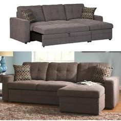 Gus Charcoal Chenille Upholstery Small Sectional Storage Chaise Sofa  Pull Out Bed Sleeper With Track