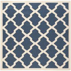 Safavieh Indoor/ Outdoor Courtyard Navy/ Beige Rug (5'3 Square) - Overstock™ Shopping - Great Deals on Safavieh 7x9 - 10x14 Rugs